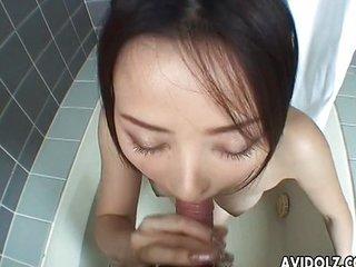 Japanese babe Reo Matsuzaka gulps a stiff