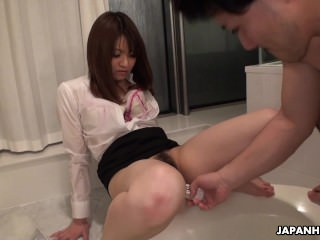 Asian office lady getting her herb plaything fucked