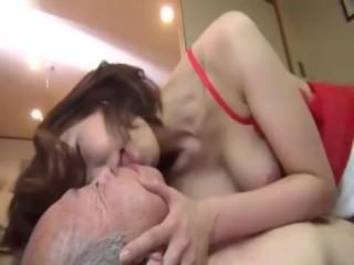 Japanese nurse rides her old patient's big unending cock