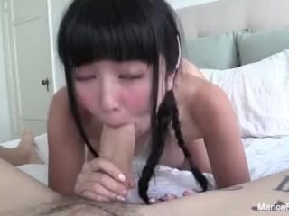 Cute Asian Marica gets a distress cock in a sexy home movie
