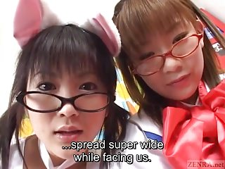 Subtitled Japanese cosplay seek information from masturbation support