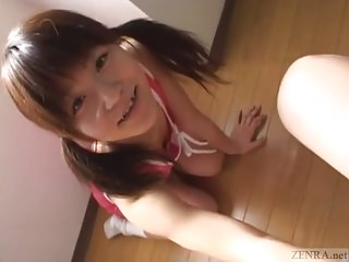 Subtitled Japanese naive schoolgirl CFNM handjob and far