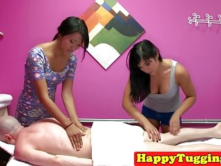 Massage asians slog and munch pussy on client
