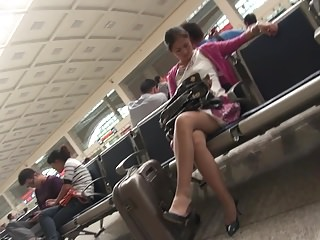 hot chinese milf's  member with pantyhose