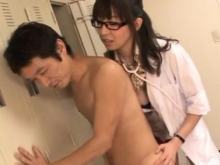 Large titted nurse gives a steamy oral-job with an increment of teat fuck
