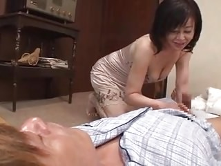 Dad's cock doesn't work, japanese mom hint for son's cock