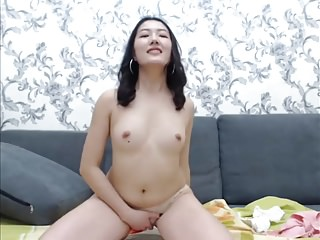 Cute Asian out of reach of webcam