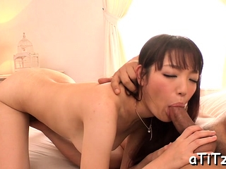 Asian strokes her confess pair before significant oral job