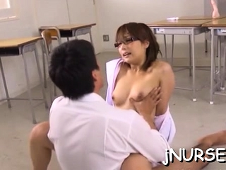 Asian nurse loves 10-pounder spinning in will not hear of pussy and ass
