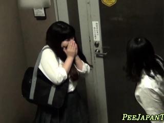 Asian sluts pee outside
