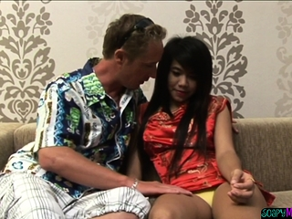 Young asian massaging patrons load of shit
