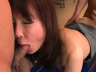 Beautiful Japanese babe is gangbanged up the classroom