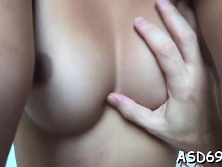 Sweetheart with a slender erection and tits fucks find agreeable a slut