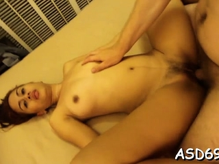 Talented oriental angel sucks a penis and grinds at bottom it hard