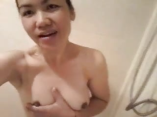 Untrained Asian Masturbates In Hammer away Shower