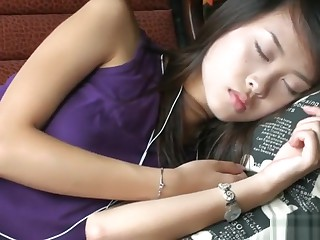 Touch Sleeping Girlfriend's Nylon Arms