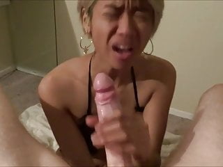 Asian Slut Sucking White Cock At A Bandeau