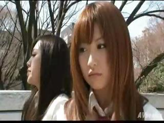 Twosome hottie Japanese bimbos are neighbors who become lesbian lovers