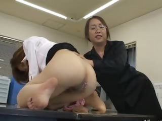 Asian secretary from Tokyo with exasperation milk