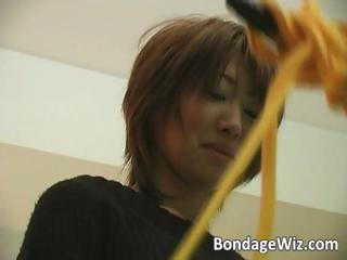 Hot Asian brunette gets tied and tickled part4