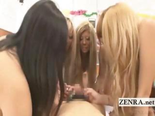 Subtitled Japanese gyaru in bikini in a CFNM POV cat-house
