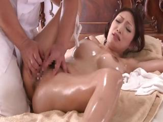 Japanese spliced Reiko gets a correct oiled up massage and banged