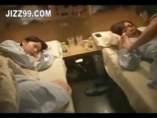 cute twin adolescence invaded in train room 01